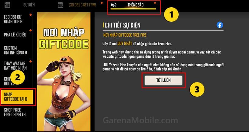 Nơi nhập code ff chính thức trong game Free Fire