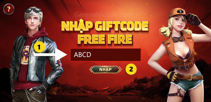 Trang nhập code ff trong game Free Fire